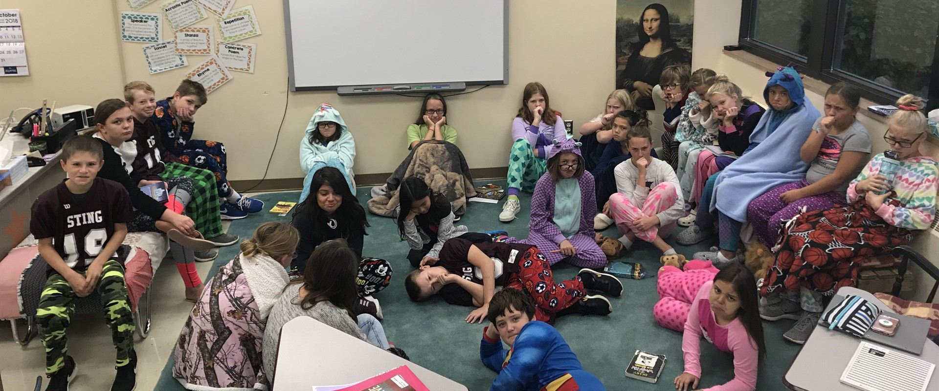 The 6th Grade needed a #timeout today! #PjDay #HoCo18