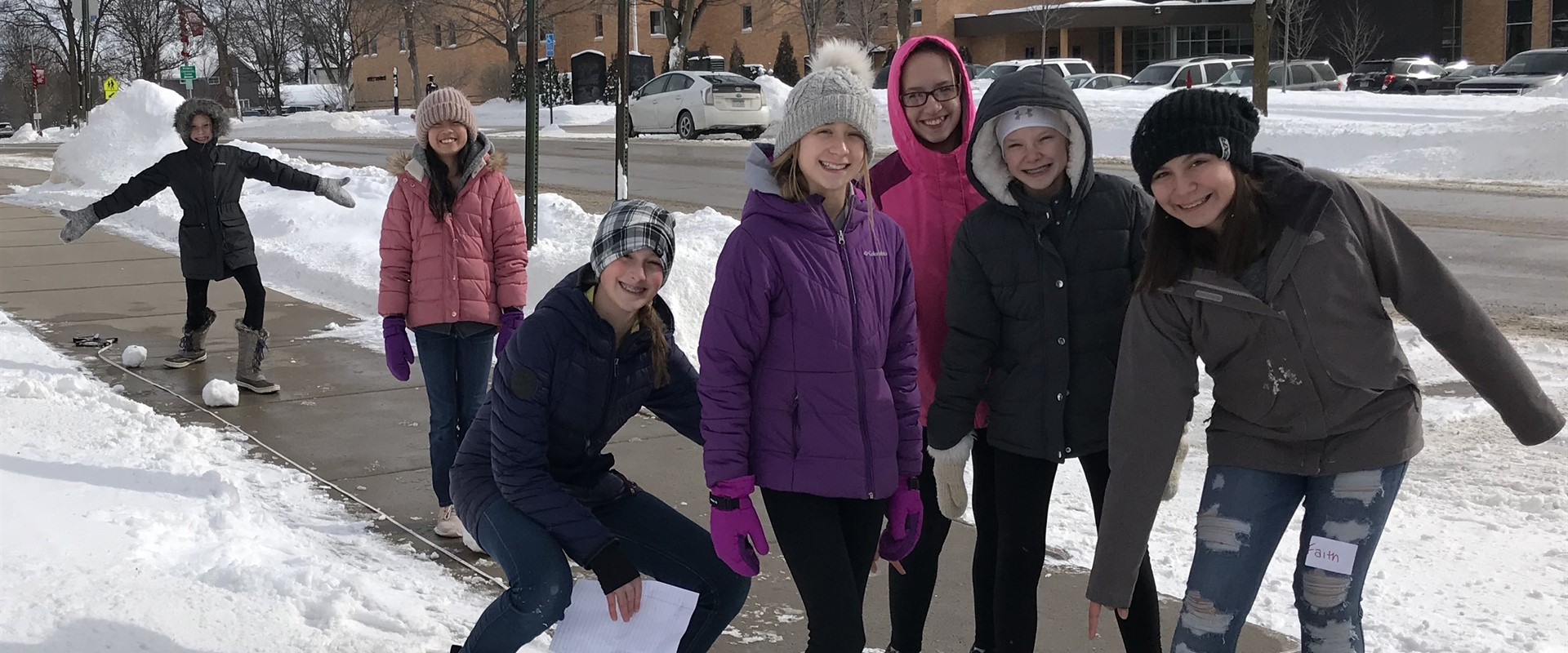 The 6th graders got outside during science to build a snow-scale model of the planets!