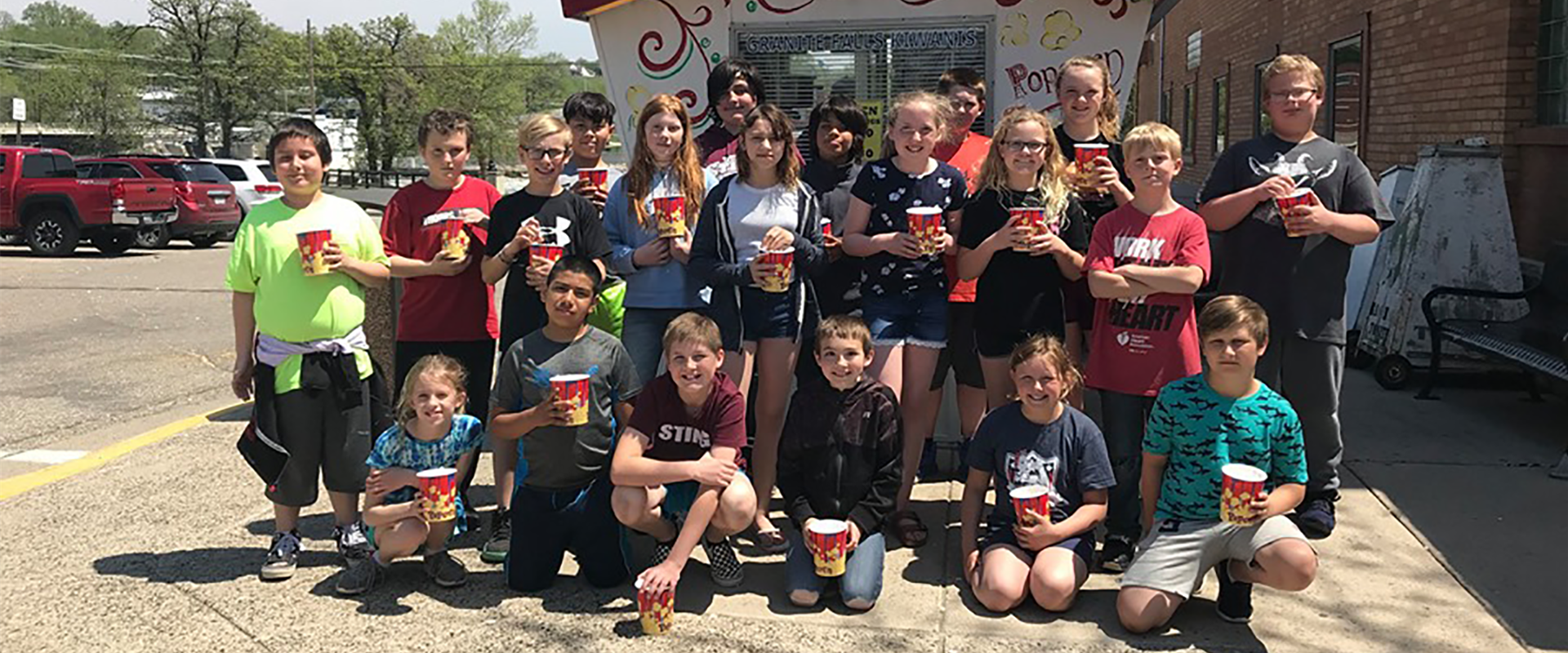 Bert Raney Elementary School visited the Kiwanis Popcorn Stand today!