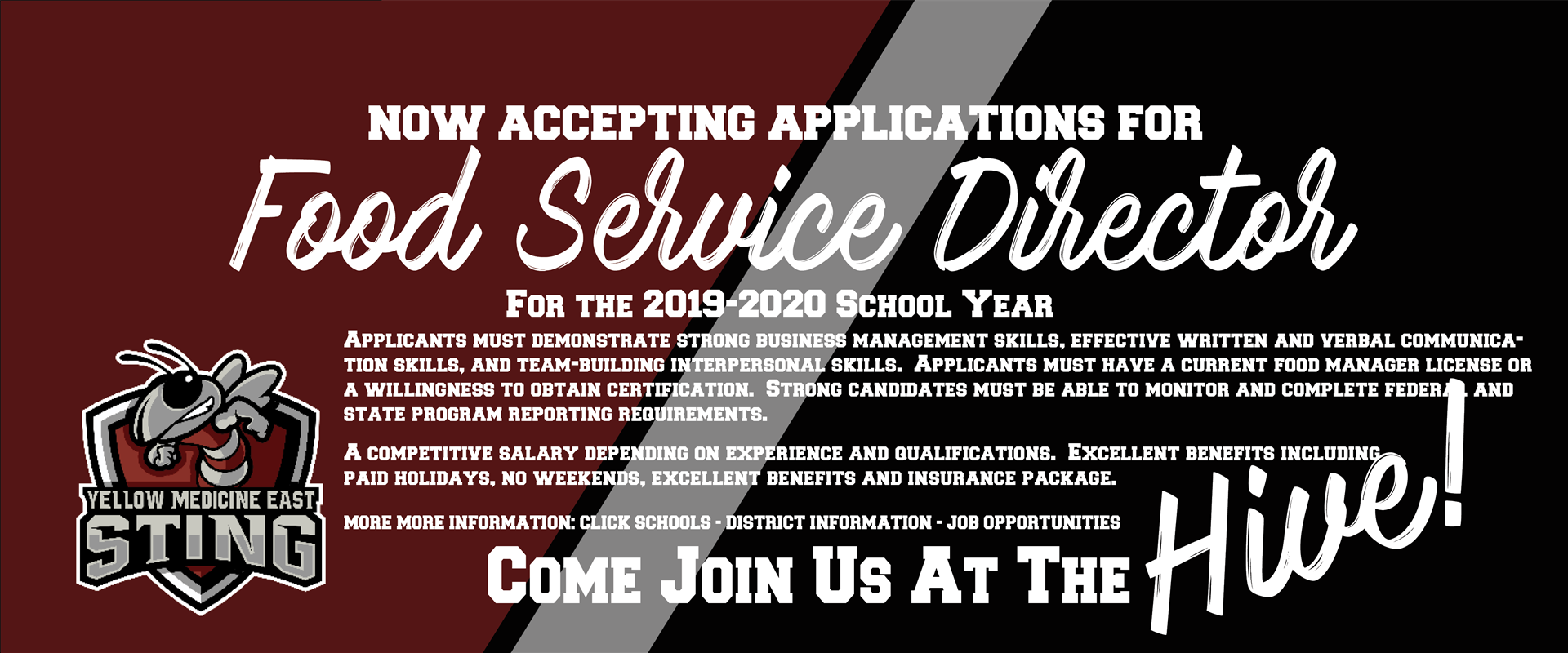 Now Hiring for a Food Service Director for the 2019-2020 School Year!