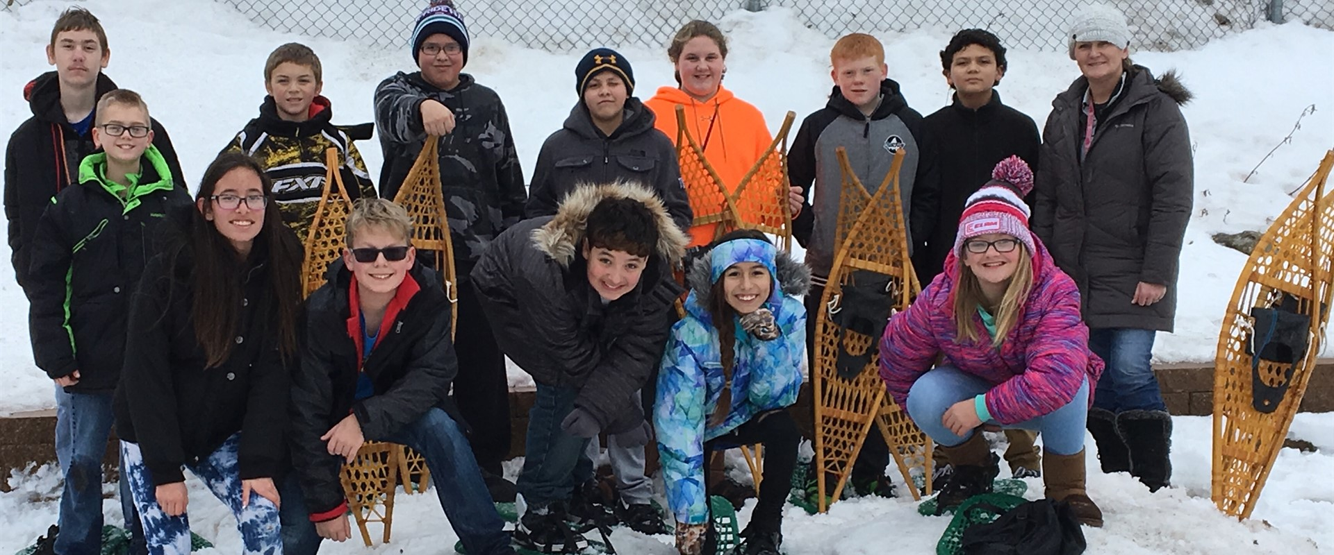 Mrs. Hinz's 6th grade Science class spent the warm day in snow shoes!