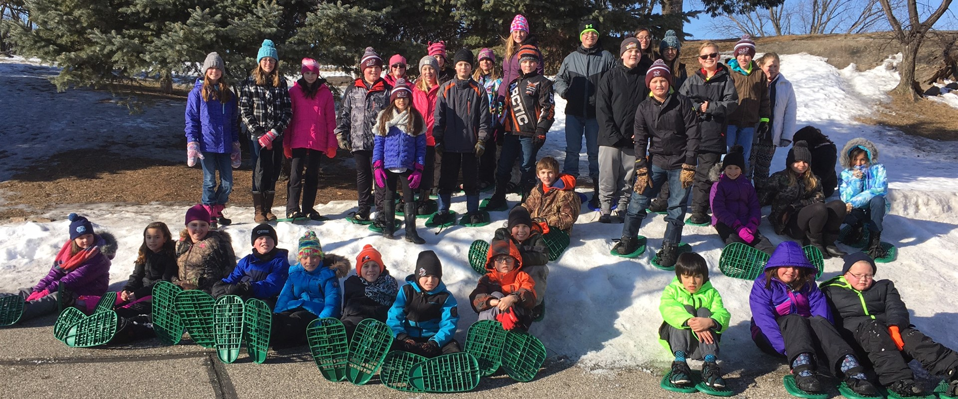 4th and 6th grade students on a snow shoe adventure!