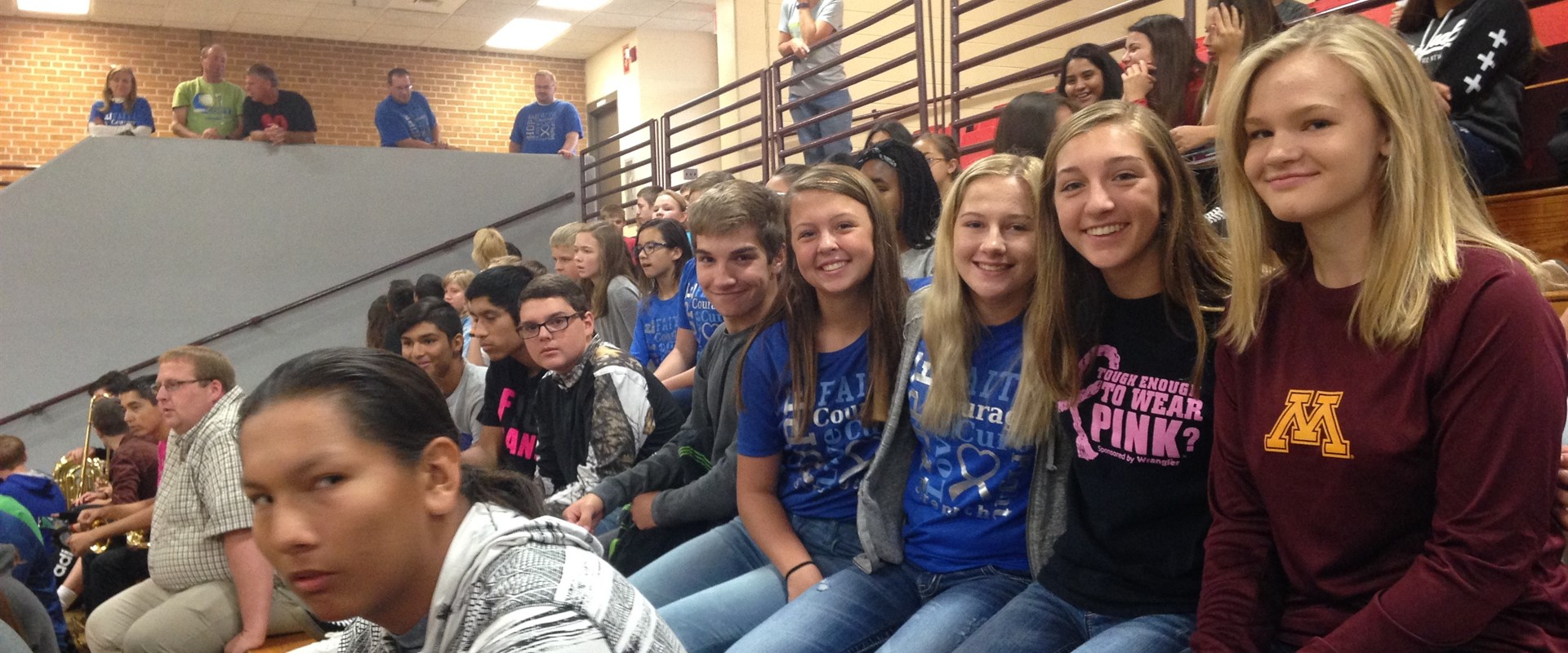 A group of students enjoying the homecoming pep fest!