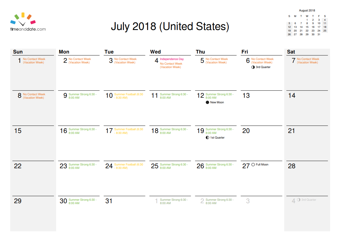 July Summer Strong Schedule
